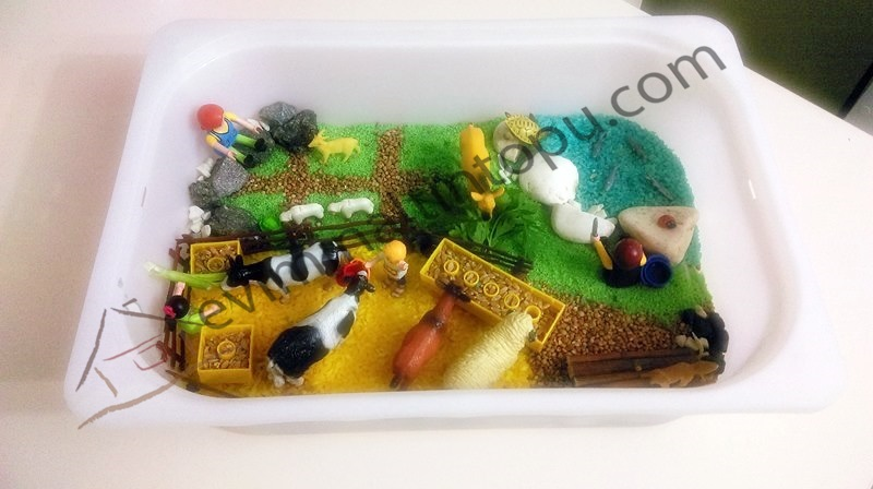 farm sensory bin for kids
