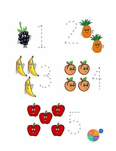 fruit math worksheets 1 Preschool