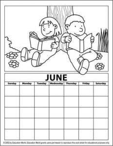 june alendar coloring page