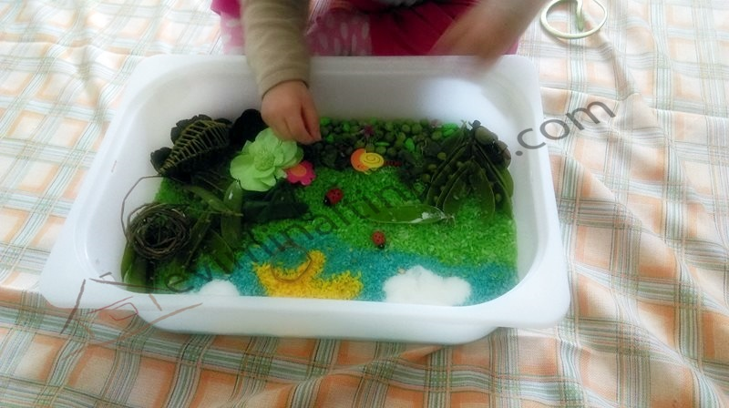 kitchen floor crafts peas carrots sensory bin
