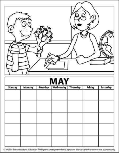 May Calendar Coloring Page Funnycrafts