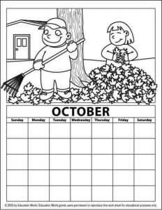 octaber calendar coloring page