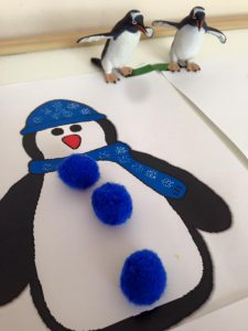 penguin pom pom color match for kids