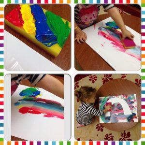 rainbow sponge painting is super cool