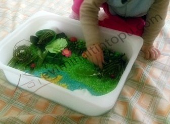 spring themed sensory bin