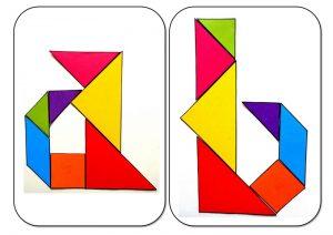 tangram alphabet A-B
