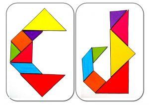 tangram alphabet C-D