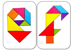 tangram alphabet E-F
