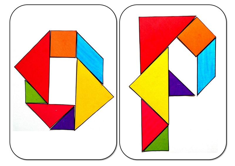 Tangram Alphabet O P on Recycle Worksheets