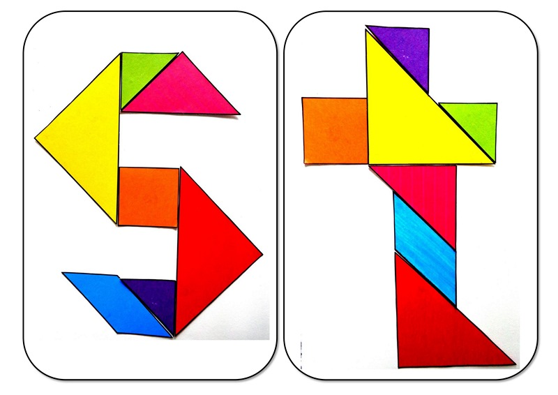 Tangram Alphabet S T on Shapes Activities Preschoolers