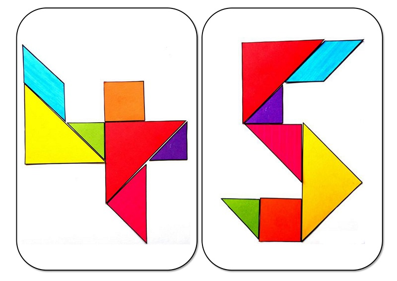 tangram numbers four and five Preschool and Homeschool