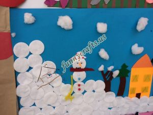 cotton pead snowman craft