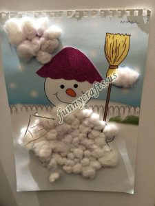 cotton snowman craft