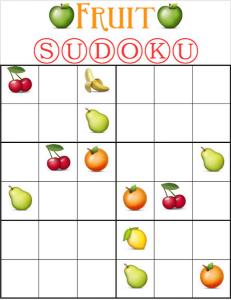 fruit sudoku for kids