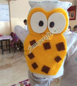 owl puppet with felt (2)
