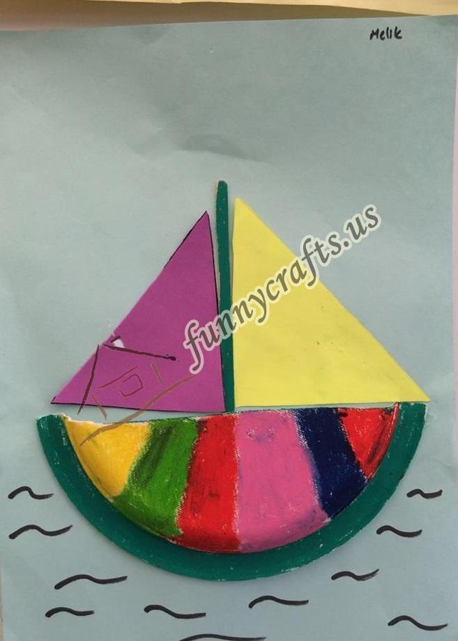 paper plate boat craft Preschool