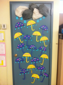 rain themed door decoration