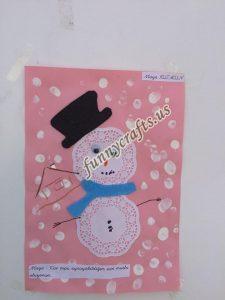 snowman craft paper doilies  (1)