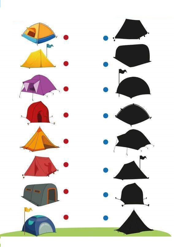 Camping shadow matching sheets preschool and homeschool for Camping coloring pages for preschoolers