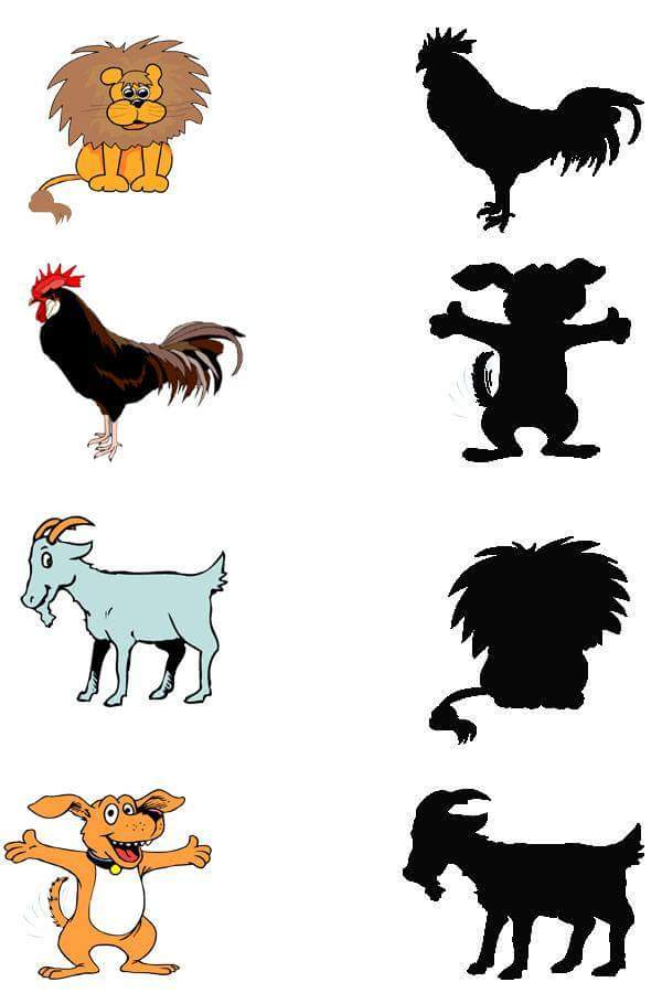 farm animals shadow matching sheets