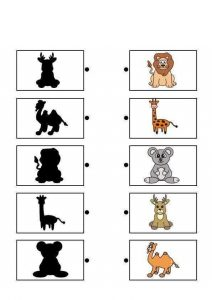 forest animals shadow matching sheets