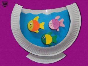 paper plate aquarium craft step3