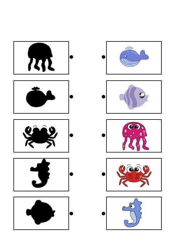 sea animals shadow matching sheets (2) « Preschool and