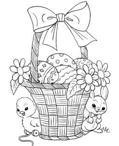 bunny and chick coloring pages