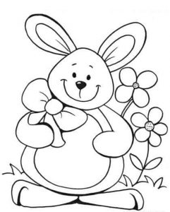 bunny and flower coloring page