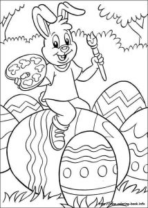easter egg and bunny coloring pages
