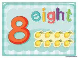 eight number cards with lemon