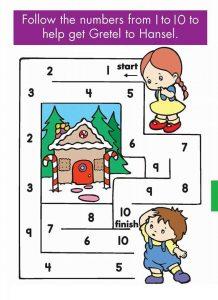 kindergarten counting & numbers mazes worksheets (1)