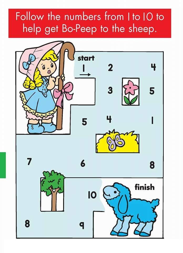 kindergarten counting u0026 numbers mazes worksheets (2 ...