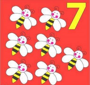 number flashcard with bee