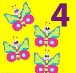 number flashcard with butterfly