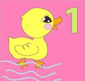 number flashcard with duck