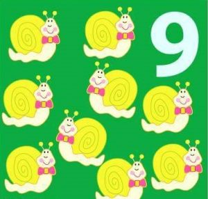 number flashcard with snail