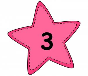 number flashcards with star
