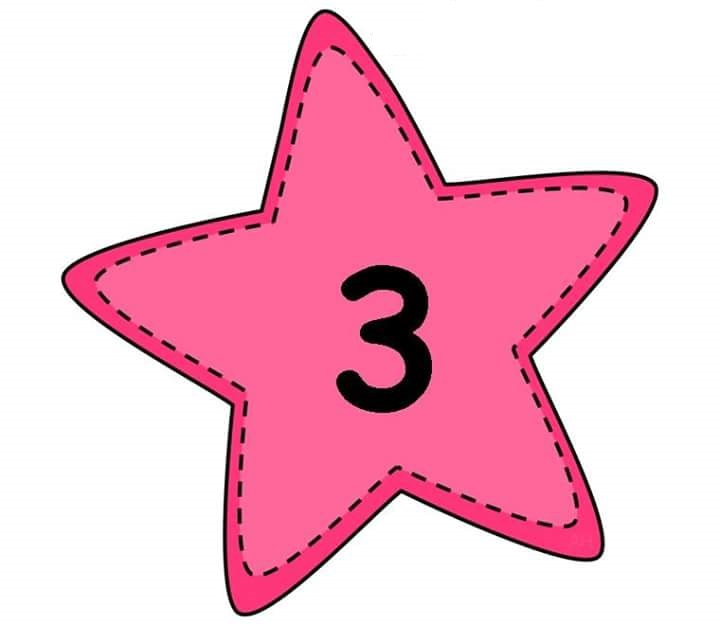 Number Flashcards With Star Preschool And Homeschool