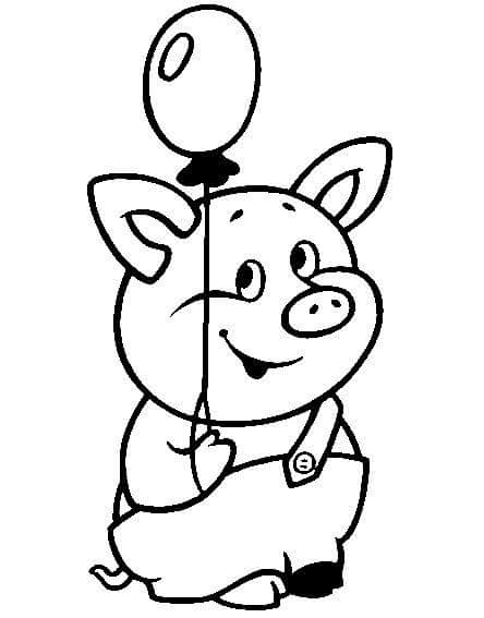 Animals Coloring Pages Pig And Balloon