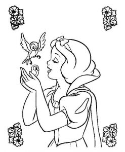princess and bird coloring pages