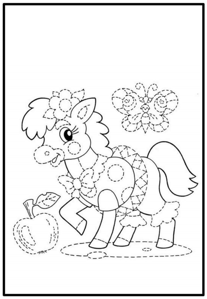 sweet horse trace and color sheet Preschool and Homeschool