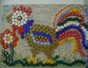 Mosaic plastic cap craft