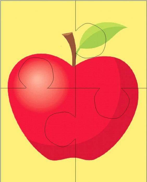 Apple Puzzle For Kids on Worksheets For Kindergarten Drawing