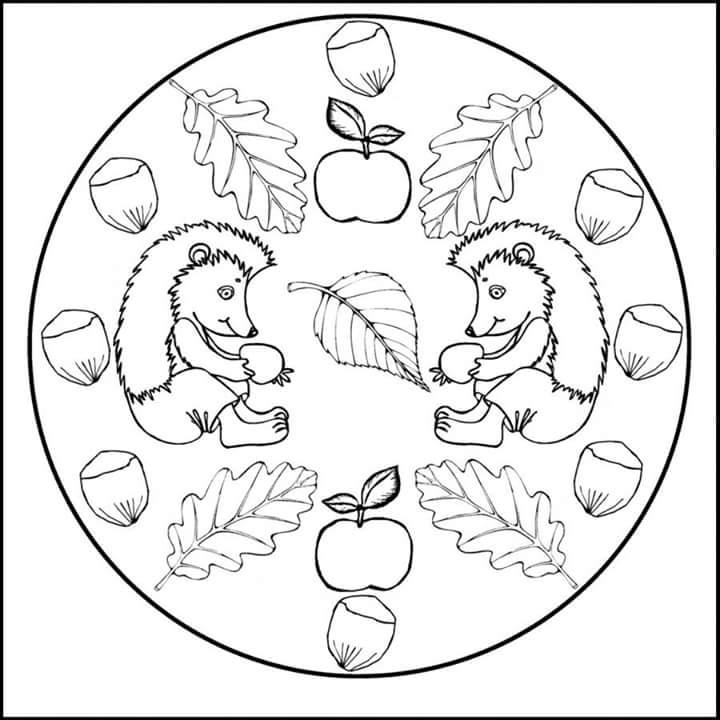 Autumn mandala coloring 5 preschool and homeschool for Fall mandala coloring pages