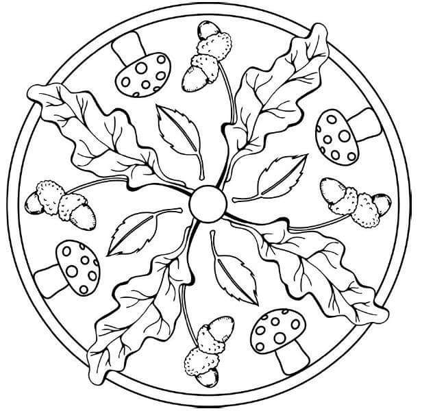 Autumn mandalas 6 preschool and homeschool for Fall mandala coloring pages