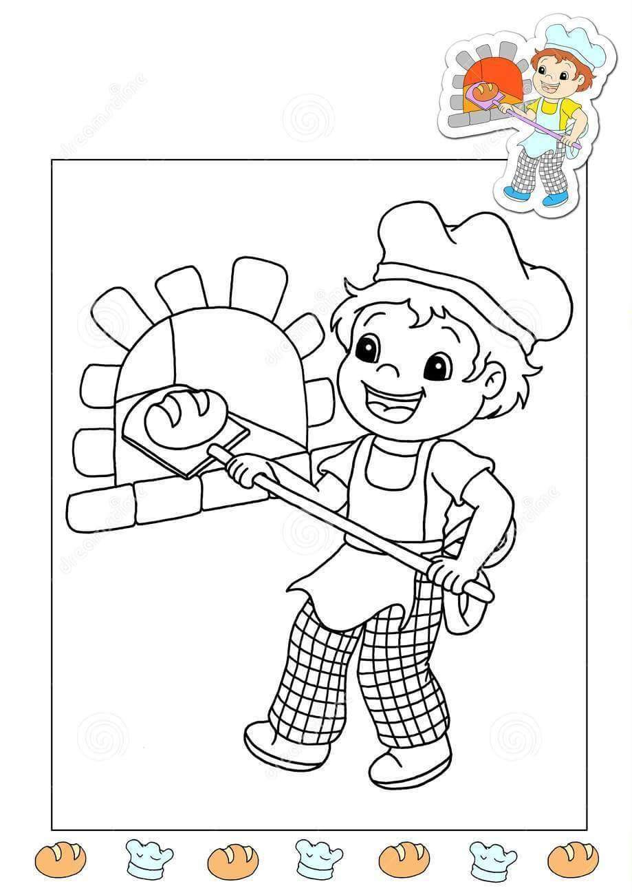 Baker coloring page funnycrafts for Baker coloring page