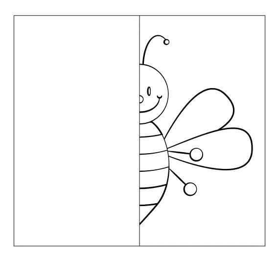 bee drawing symmetry worksheets preschool and homeschool. Black Bedroom Furniture Sets. Home Design Ideas