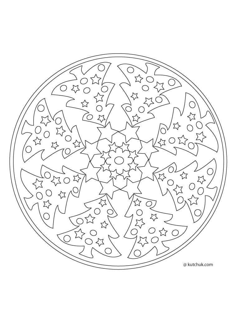 christmas mandalas coloring 5 funnycrafts