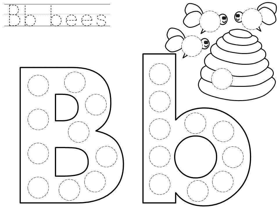 do a dot letter b printable preschool and homeschool. Black Bedroom Furniture Sets. Home Design Ideas